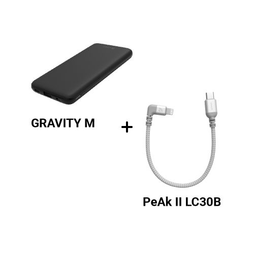 GRAVITY M USB-C PD 3.0 / QC3.0 快充行動電源 黑/白 + PeAk II LC30B 90度L型金屬編織傳輸線