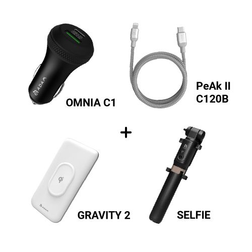 OMNIA C1 USB-C PD & QC 36W 極速車充 SELFIE 藍牙遙控腳架自拍棒 黑+PeAk II USB-C to Lightning Cable C120B 金屬編織傳輸線+GRAVITY 2 無線雙向快充行動電源 黑/白