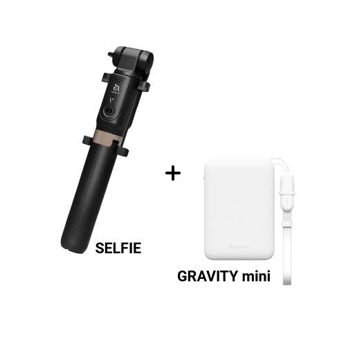 SELFIE 藍牙遙控腳架自拍棒 黑+GRAVITY mini 輕巧型行動電源